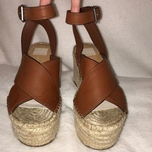 Dolce Vita Brown Leather Espadrille Wedges